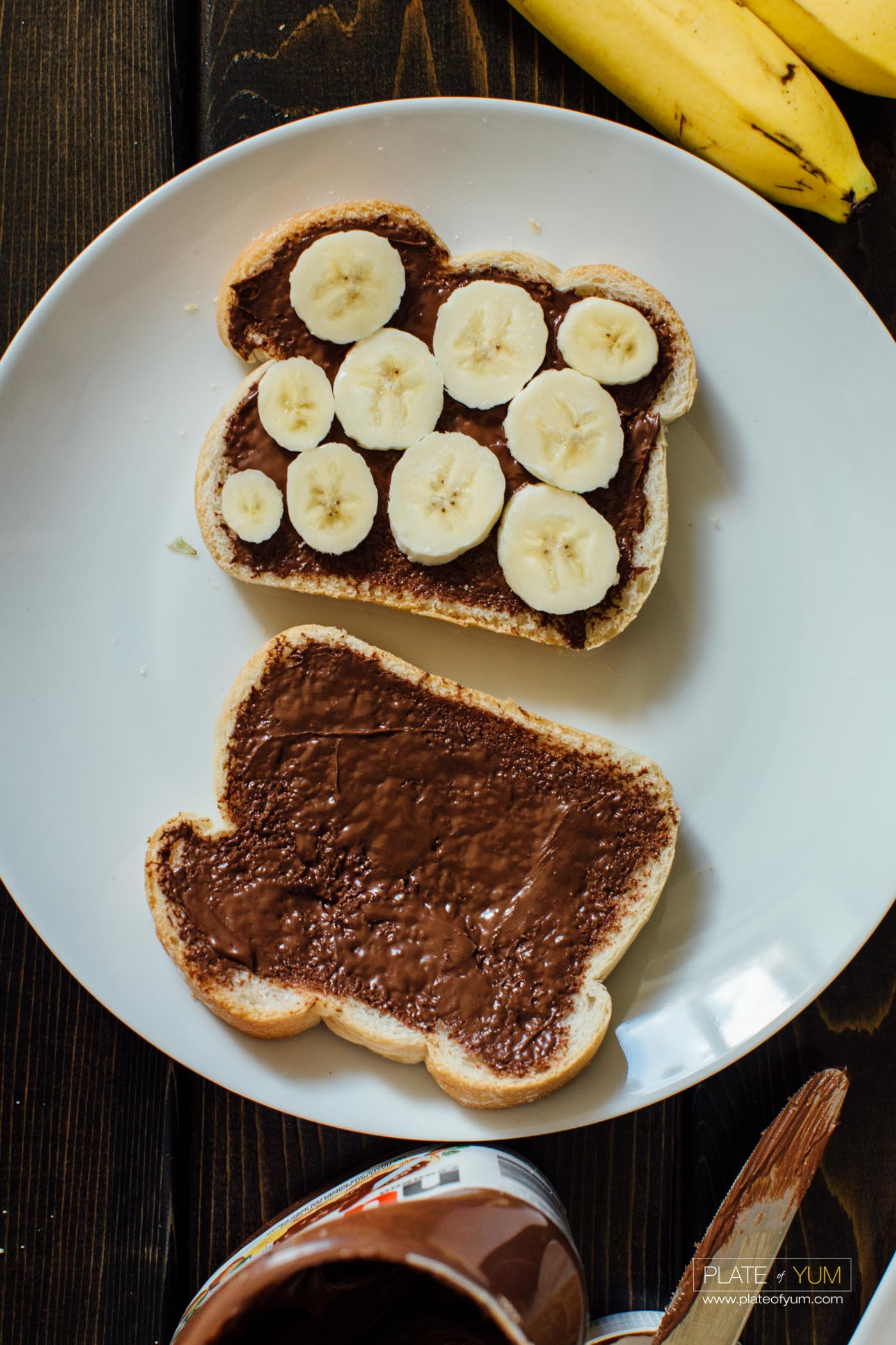 Nutella Banana French Toast With Condensed Milk Plate Of Yum